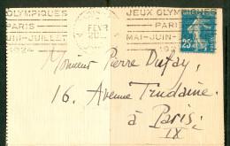16/11 18/2  France Lettre Flamme Dreyfuss A14108 Paris Av D´ Orleans Jeux Olympiques Paris Mai Juin Juillet 1924