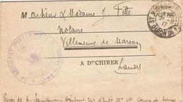 Lettre De 14-18, Adjudant Saintourens, Camp De Souge (33), 1917, Tampon Du 34e RI, Notaire Fitte à Villeneuve-de-Marsan - Documents Historiques