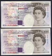 England - 20 Pounds 1993 X 2 Pcs. Close Serial Nr.: AE25387858 & AE25387861 - 20 Pounds