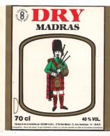 Etiquette  Dry MADRAS -  à L'alcool De Canne - GUADELOUPE - Illustration écossais En Kilt - - Rhum