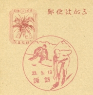 Nippon / Japan - Ski And Skating In Postmark On Postal Card - Skisport