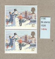 GB 1990 - Christmas Book Stamps - Imperforat TOP + Imperf Bottom (2) SG 1526 - 1952-.... (Elizabeth II)
