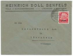 C403 - BENFELD - 1941 - Entête Heinrich DOLL- Limonade - Glace - Bois - - Elsass-Lothringen