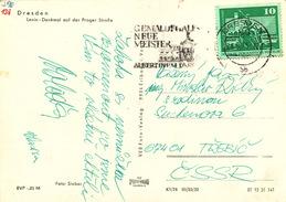 L1344 - DDR (1975) Dresden: Picture Gallery New Masters, Albertinum Dresden (postcard: Dresden, Lenin Sculpture); 10 Pf.