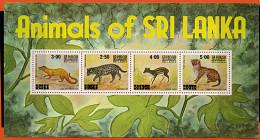 Sri Lanka ** Bloc N° 13 - Chat, Civette, Chevrotain - - Sri Lanka (Ceylan) (1948-...)