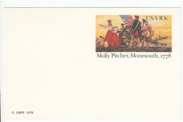 US Postal Stationery Postcard 1978 Molly Pitcher Firing Cannon At Monmouth UX77 Bb161110
