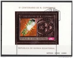 Bf. 100A Guinea Equatoriale 1974 Copernico Copernicus Sheet In Rilievo (Impreso Sobra Cobre) Ecuatorial Guinee - Astronomie