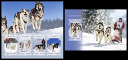 S. TOME & PRINCIPE 2014 - Sledge Dogs - YT 4574-7 + BF754; CV = 29 € - Other Means Of Transport