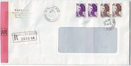 LETTRE RECOMMANDEE DE REIMS JEAN JAURES R 2686 SR Postée Le 13.04.1987 Avec MARIANNE LIBERTE 2183 Par 2 Et 2276 Par 2 - Postmark Collection (Covers)