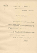Circulaire De La Préfecture Du Doubs  Besançon Le 29 Aout 1914 - Decrees & Laws