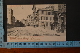 1904  GENOVA SAMPIERDARENA  Via Colombo Con Treno E Animazione. Rara. Viaggiata Ed. Garzini E Pezzini - Genova