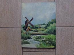 Houten Windmolen Door J. Smet - Olieverf