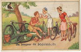 Un Bonjour De Remich Carte Depliant Multi Vues 10 Vues Velo Chute Pub Moselle Edit L' Heembeekoise Bruxelles - Remich