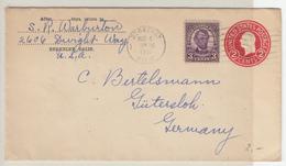 US Postal Stationery Stamped Envelope Washington Travelled 1931 Berkeley, California To Gütersloh, Germany U429 Bb161110