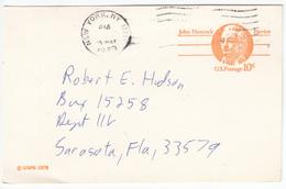 US Postal Stationery Postcard Travelled 1979 NY To Sarasota, Florida UX75 John Hancock Bb161110