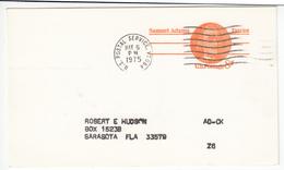 US Postal Stationery Postcard Travelled 1975 Burlington, VT To Sarasota, FL UX66 Samuel Adams Bb161110