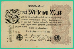 2 Millions De Mark - Allemagne - 9 Août 1923 -  Sans N° -  Uniface - Sup - - 2 Millionen Mark