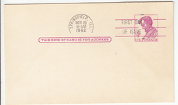 US Postal Stationery Postcard 1962 UX48 Lincoln Bb161110