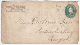 US Postal Stationery Stamped Envelope Travelled 1888 Chicago To NY U305 Washington Bb161110