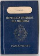URUGUAY - 1980 PASSPORT - PASSEPORT - UK MODEL- Vf JUGOSLAVIJA - PORTUGAL - ROYAUME Du MAROC - VISAS And REVENUES STAMPS - Historical Documents