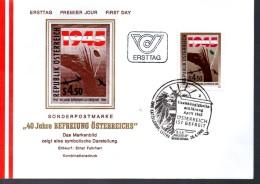 AUTRICHE    FDC    1985 Liberation De L Autriche - Guerre Mondiale (Seconde)