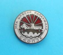 LYCHNIS ( MRA Crveni Karanfili ) SKOPJE Macedonia Ex Yugoslavia - Political Old Enamel Pin Badge Anstecknadel - Voetbal