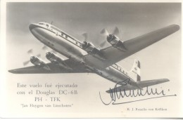 PRIMER VUELO SANTIAGO AMSTERDAM KLM COMPAÑIA REAL HOLANDESA DE AVIACION NOVIEMBRE DE 1952 K.J. RUPPLIN VON KEFFIKON CPA - Chili