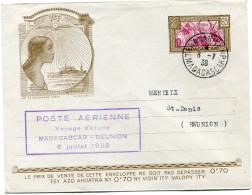 "MADAGASCAR ENTIER POSTAL AVEC CACHET ""POSTE AERIENNE VOYAGE D'ETUDE MADAGASCAR - REUNION 8 JUILLET 1938 "" - Madagascar (1889-1960)"