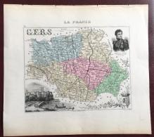 """Gravure 19 ème.  Atlas Migeon  1876 CARTE DU DÉPARTEMENT  """"Gers 32"""" - - Geographical Maps"""