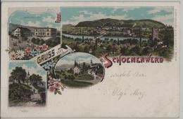 Gruss Aus Schoenenwerd Schönenwerd - Bühl Kirchplatz, Kleinkinderschule, Schulgebäude, Generalansicht - Farbige Litho - SO Soleure