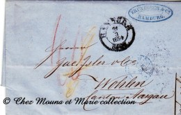 ALLEMAGNE SUISSE 1854 - HAMBOURG WOHLEN PAR FRANCFORT - BRUNHOBER - TAXEE - MARQUE POSTALE LAC - Hamburg