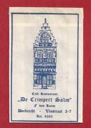 Suikerzakje.- DORDRECHT. CAFÉ RESTAURANT - DE CRIMPERT SALM -  F. Van KAAM, VISTRAAT 3 - 7, Tel. 4595. -. 2 Scans. - Sugars