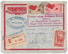 - Lettre - MADAGASCAR - TANANARIVE - PA N°6 + N°13 + Poste N°185 - RECOMMANDEE - 1er Voyage MADAG-EUROPE - 1936 - Madagascar (1889-1960)
