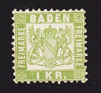 Baden, Scott #26, Mint No Gum, Coat Of Arms, Issued 1868 - Baden