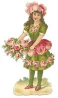Découpis Gaufré Femme Fleur Pivoine Robe Et Chapeau De Fleurs DIM:10cm X 5cm - Blumen