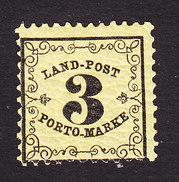Baden, Scott #LJ2, Mint Hinged, Rural Postage Due, Issued 1862 - Baden