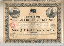 ACTION DE CENT FRANCS AU PORTEUR DES AFFRETEURS REUNIS PARIS 1921 (ILLUSTRATION TRAIN DRAPEAU ET BATEAU) - Transports