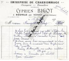76 - Seine-maritime - ROUVILLE - Facture BIGOT - Charronnage , Carrosserie, Tonnellerie – 1939 - REF 251B - France
