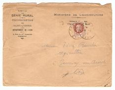 LETTRE 1943 MINISTERE DE L'AGRICULTURE GÉNIE RURAL SAINT QUENTIN POUR GOURNAY SUR ARONDE - Y & T PÉTAIN 517 - 2 Scans - Marcofilie (Brieven)