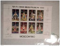 1980 Korea Foglietto Francobolli Olimpiadi Di Mosca  Nuovo Con Annullo - Corea (...-1945)