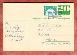 P 231 II Ziffer + ZF, Per Bahnpost Wabern Bei Bern Nach Koeln 1972 (33646) - Ganzsachen