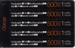 ARMENIA - 5 Orange Mini Prepaid Cards 500 AMD, Exp.date 31/12/17, Used