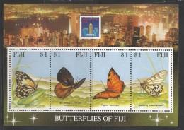 1994 Fiji Butterflies Hong Kong 94 Complete Souvenir Sheet Of 4  MNH - Fiji (1970-...)