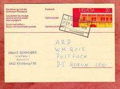 P 233 II Omnibus, Per Bahnpost Kirchberg-Alchenflueh Nach Koeln 1973 (33653) - Ganzsachen