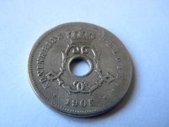 BELGIE - 5 CENTIEMEN 1905.  REFRAPPE DU 5 SUR UN 4. - 1865-1909: Leopold II