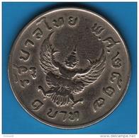 """THAILANDE 1 BAHT 2517 (1974)  Rama IX   """"Garuda""""   Y# 100 - Tailandia"""