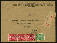 FRANCE - YT 721Aa MECHES RELIEES DANS BANDE DE 3 TIMBRES SUR LETTRE - Curiosities: 1945-49 Covers & Documents