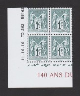 """FRANCE / 2016 / Y&T N° 5094/5095 ** : TP Du Bloc-feuillet """"140 Ans Du Type Sage"""" 2 Paires Coin Daté 2016 10 11 - TD 202 - Angoli Datati"""