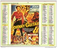 Almanach Du Facteur. LA POSTE. Calendrier J.Cartier Bresson 1992. Films Cinéma : JOHNNY GUITAR - LA REINE AFRICAINE - Calendriers