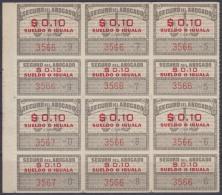 REP-155 CUBA REPUBLICA 1950. REVENUE. SEGURO DE ABOGADOS. LAWYER INSURANCE. 10c BLOCK 8. ORIGINAL GUM. - Timbres-taxe